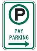 Pay Parking Directional Sign